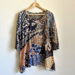 New Directions Paisley Blouse Embroiderd Large